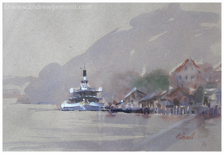 The Old Ferry Lake Lucerne - Watercolour Painting by Andrew Gemmill